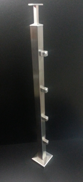 Balkonpfosten Vierkantrohr + 4 x Vierkant Querstabhalter f. 12er Stab