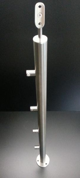 Treppenpfosten + 4 Querstabhalter 42,4 / 12er Stab