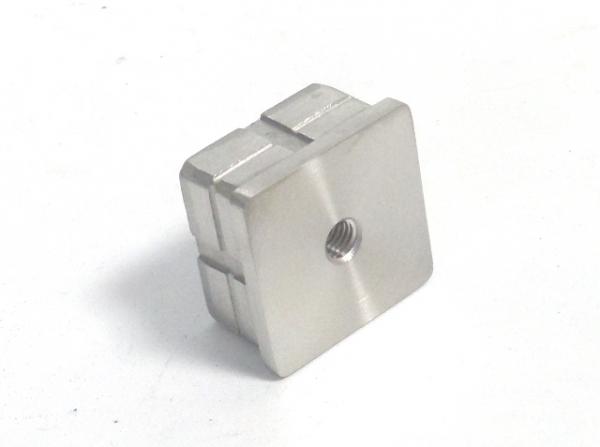 Rohrstopfen für Rohr 40x40mm gegossen flach M8 Gewinde Edelstahl