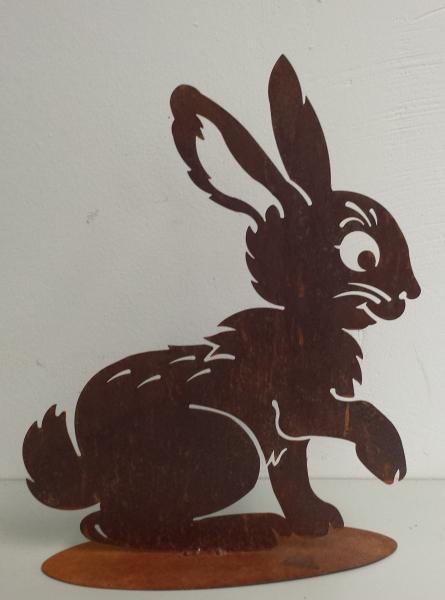 Edelrost Hase mit Platte 40cm