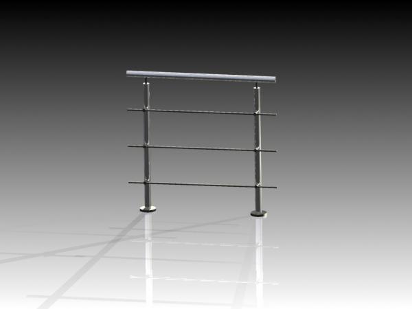 Geländer/Absturzsicherung - Bausatz 1000mm + 3 Querstreben