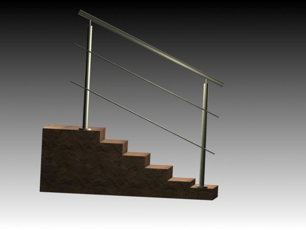 Treppengeländer/Absturzsicherung - Bausatz 1200mm + 2 Querstreben